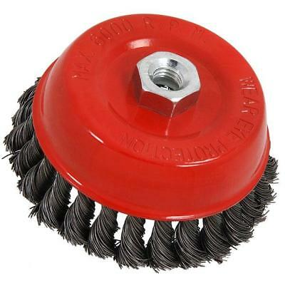 """125 mm / 5 """" Twist knot rotary steel wire cup brush M14"""