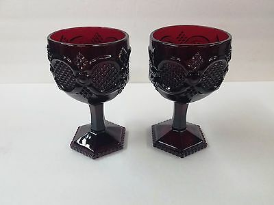 Avon 1876 Cape Cod Ruby Red Set Of 2 Champagne Glasses Mint Vintage