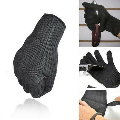 Pair Black Cut Resistant Level Working Safety Gloves Grip Protection Rotection