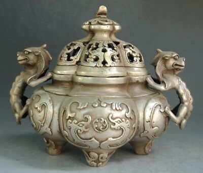 Old Chinese copper plating silver Carving Dragon Beast Head incense burner  e02