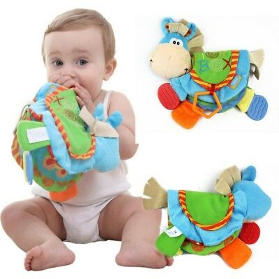 Newborn Baby Intelligence Early Education Fun Learning Donkey Toys Cloth Book US