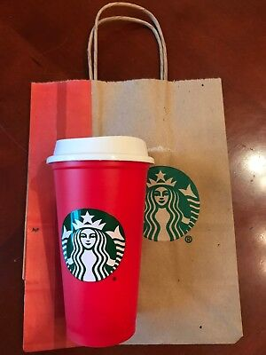 Starbucks Red 2018 Holiday Reusable Plastic Cup Tumbler. 16 Oz. NEW. Limited