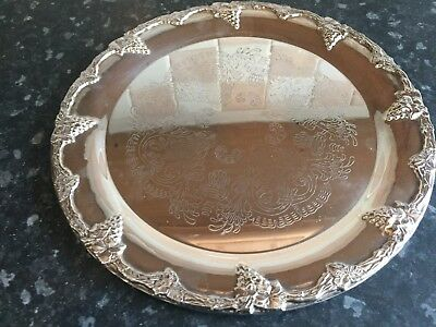 Round silver plated tray
