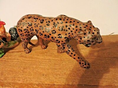 """Vintage Hand Painted Carved 13"""" L Wooden Leopard Statue Figurine"""