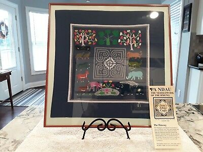 Vintage Embroidery Textile Hand Stitched Folk Art Hmong Story Cloth Tapestry