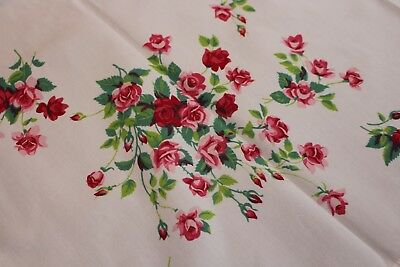 Vintage Wilendur Tablecloth 34x34 Shaded Pink Roses
