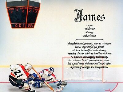 """""""Hockey"""" Name Meaning Print Personalized (Sports)"""