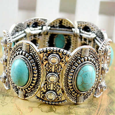 Chic Boho Womens Retro Vintage Natural Turquoise Tibetan Silver Bracelet Cuff ME