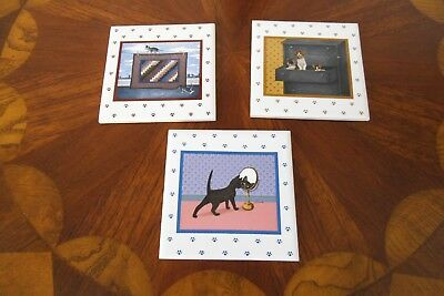 1986 Lowell Herrero Vandor Decorative Set Of (3) Cat Collector Tiles