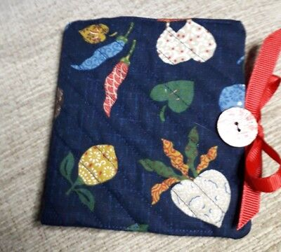 Quilted Handmade Needle Book Vegetables Japanese Navy Blue Fabric wooden button