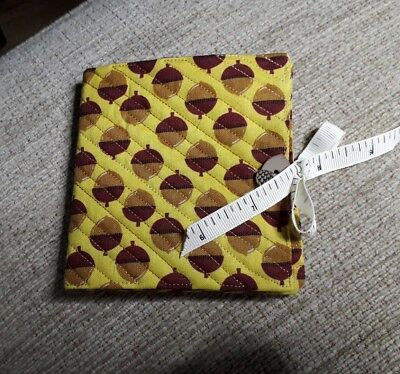 Quilted Handmade Needle Book Acorn Mustard Yellow Fabric acorn button