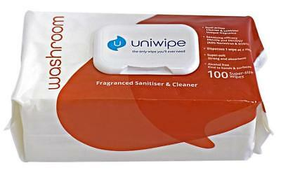 Washroom Large Sanitising Wipes, 100 Pack - UNIWIPE