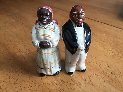 African American Mammy N Pappy Salt And Pepper Shaker,americana,no Cracks,4.5 In