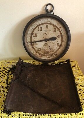 Antique John Chatillon & Sons 30lb Hanging Scale with Chain & Pan & rust