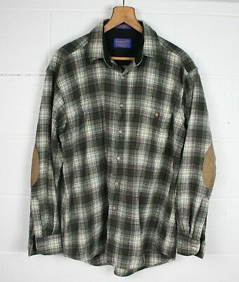 PENDLETON Green & Red 100% Wool Plaid Flannel Shirt w/Elbow Patches Men's Sz. L