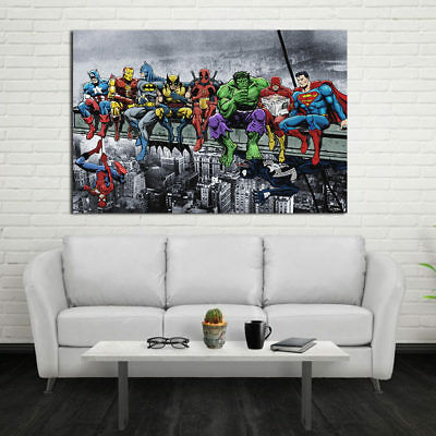 Super Heroes Marvel Ink Painting Room Wall Decor Canvas Mural For Fans Collector