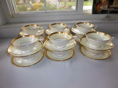 Minton English Bone China Gold Encrusted Footed Cups & Saucers Set Of 12