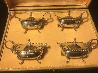 Antique Italian 800 Silver Covered Lion Footed Salts w/Insert & Spoons-Set of 4