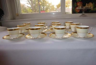 Minton English Bone China Gold Encrusted Footed Demitasse Cups & Saucers Set 12