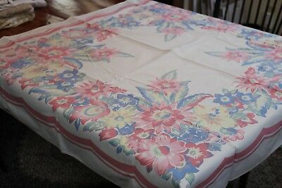 Vintage Cotton Kitchen Tablecloth 46x50 Lots Pink & Blue Posies