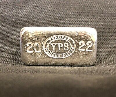 "1oz Hand Poured 999 Silver Bullion Bar ""2019"" by Yeager's Poured Silver -  YPS"