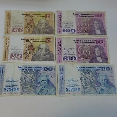 Lot of (70) Ireland Pounds (Punt)  2 ea 5, 10, 20 Circulated - Exchange Lot?