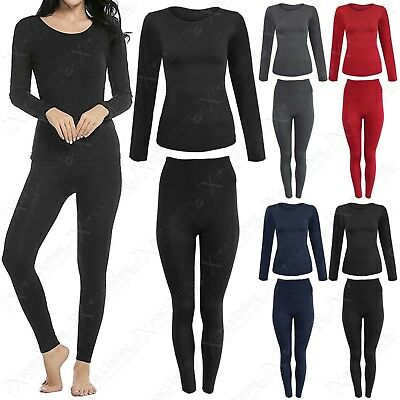 Womens 2 Pc Set Leggings Top Warm Fleece Lined Thermal Ladies Suit Stretch Thick
