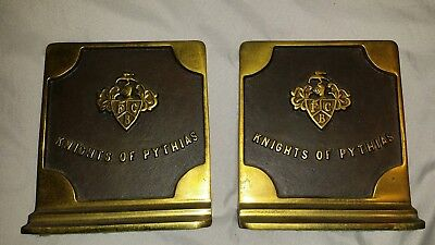 Vintage bronze? Knights of Pythias book ends VERY heavy