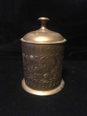Vintage Brass Hand Etched Cylindrical Container/Jar with Lid Made in India