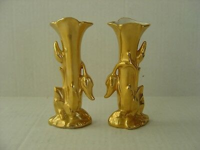 """Vintage Pair Of Gold China Fancy Bud Vases, Wheeling Pottery Co, 5"""" Tall"""