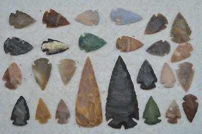 """26 PC Flint Arrowhead Ohio Collection Points 2-3"""" Spear Bow Stone Hunting Blade"""
