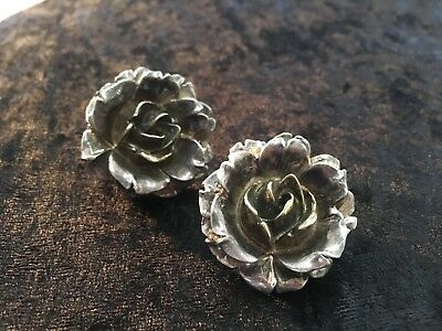 Vintage Rose Sterling Silver Electroform Modernist Rose Pair Light Clips