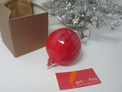 Hand-blown Glass ORNAMENT Art by Fire Glass School RED Ball Christmas Tree