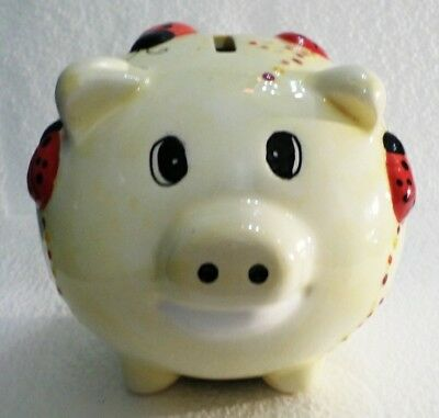 "PIGGY BANK Lady Bug Covered Pig Coin Money Ceramic 5"" Figurine NM Ladybugs CUTE"
