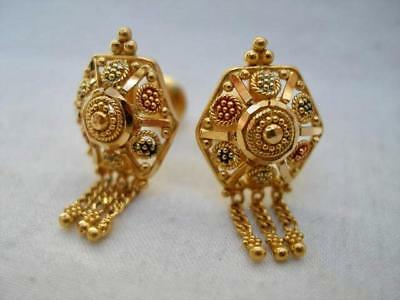 Fine Pair of Antique 22 Carat Gold Middle Eastern Ear Rings.