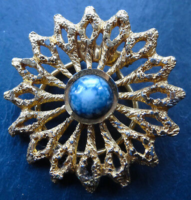 vintage blue marble glass cabochon textured modernist gold tone sun brooch -Y48