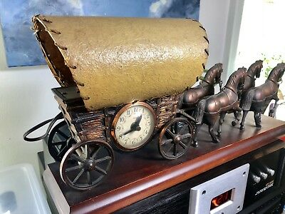 Vtg United Metal Goods Electric Motion Clock & Lamp Horse Drawn Wagon  Western