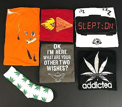 Lot of 5 Mens Large Graphic T Shirts Pot Chips Fox Wish and 1 Pair of Socks NEW