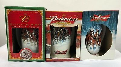 Budweiser Holiday Steins Lot of 3 with Original Boxes 2004 Anniversary 2006 2007