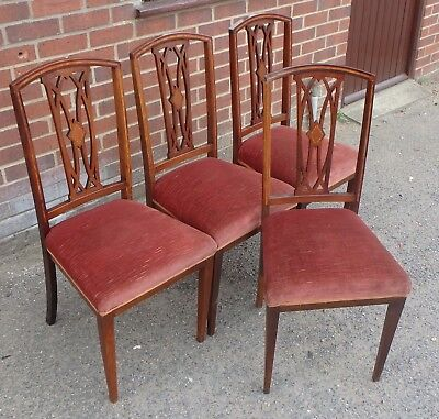 Set 4 Edwardian antique upholstered solid mahogany inlaid kitchen dining chairs