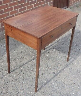 George III antique solid mahogany 1 drawer console hall dressing side table desk