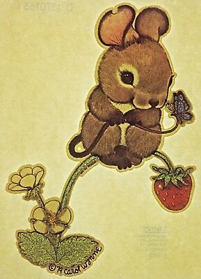 Original Vintage Mouse With Strawberry Iron On Transfer