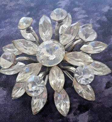 Vintage HUGE Sparkling Clear Rhinestones Layered Flower Snowflake Brooch