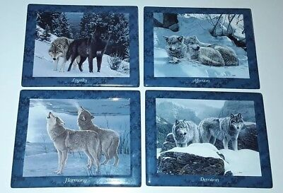 Bradford Exchange Wolves Wolf Plates (4) LIFEMATES Limited Edition 2000