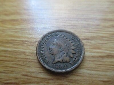 1862 INDIAN HEAD Penny.  Authentic Coin.  Lot#319.