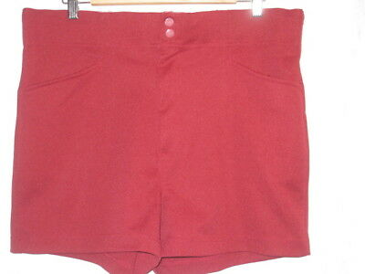 Vtg 70's MEN'S SPALDING DARK  RED  COACHES ATHLETIC SOFTBALL POLYESTER SHORTS  L