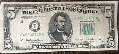"1950 US $5 Five Dollar Banknote Pre ""In God We Trust"" Circulated"