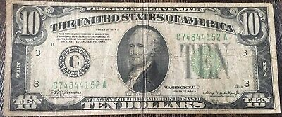 US 1934-A $10 TEN DOLLAR BILL FEDERAL RESERVE NOTE Green Seal