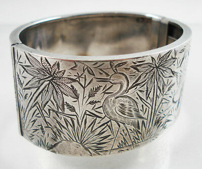 Antique Wide Silver Engraved Bangle, Flowers & Birds.