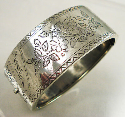 Antique Silver Engraved Bangle, Flowers.